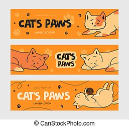 Promotional banner designs with funny cats