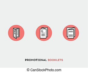 Promotional booklets flat illustration Set of line modern icons.