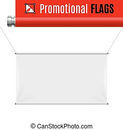 Promotional flag - Gorizontal white promotional flag hanging...
