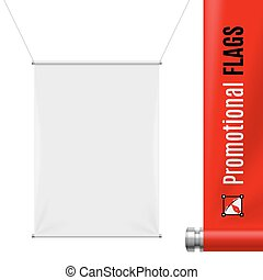 Promotional flag - White promotional flag hanging on threads...