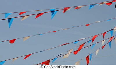 Promotional flags - Colorful bunting blowing in the wind