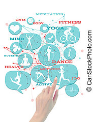 Promotional gym/fitness/athletic business icons./ Light blue transparent beveled floating bubbles/buttons, with fitness icons, hand pointing on one of them. Elegant abstract shapes in the background and appropriate text emerging of it.