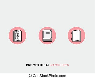 Promotional pamphlets flat illustration Set of line modern icons