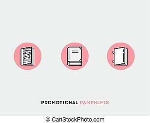Promotional pamphlets flat illustration Set of line modern icons