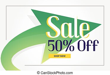 promotional sale poster background with green arrow
