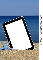 Promotional tablet template on the beach