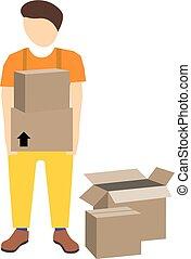 promotore, scatole cartone, giovane