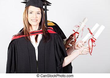 promoviert, besitz, diplom, an, studienabschluss