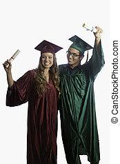 promoviert, in, kappe kleid, mit, diplome