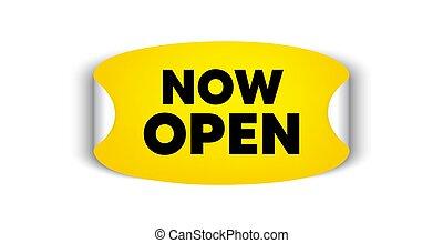 promozione, affari, segno., vettore, open., ora, nuovo