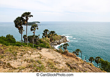 Promthep Cape is a mountain of rock that extends into the sea in Phuket, Thailand.