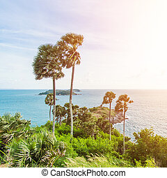 Promthep Cape is a mountain of rock that extends into the sea in Phuket, Thailand