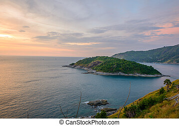 Promthep cape, the iconic place to see sunset at Phuket, Thailand