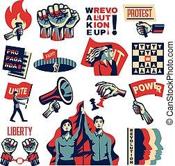 promuovere, set, rivoluzione