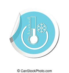 pronóstico, icono, tiempo, termómetro