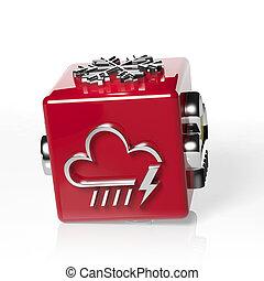 pronóstico meteorológico, 3d, cubo, con, nube, y, trueno
