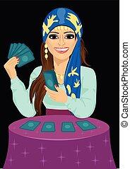 pronosticar, fortuna, joven, tarot, futuro, tarjetas, cajero