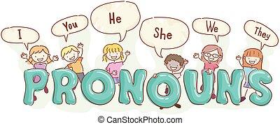 pronouns, bambini, stickman, lingua, illustrazione