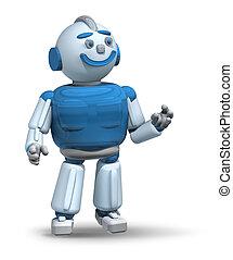 pronto, 3d, servire, robot, amichevole
