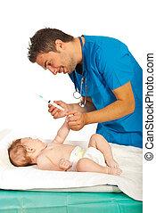 pronto, bebê, vacina, doutor