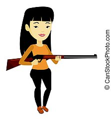 pronto, caça, caçador, rifle., caça