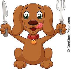 pronto, caricatura, cão, comer, faminto