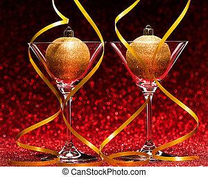 pronto, celebração natal, dois, óculos
