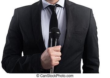 pronto, elegante, microfone, falar, homem negócios