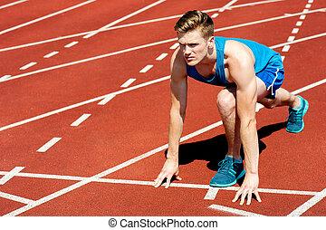 pronto, início, obtendo, raça, sprinter