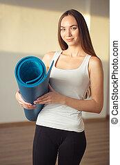 pronto, mulher, esteira yoga, condicão física