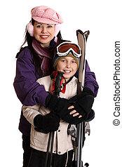 pronto, para, a, esqui, estação