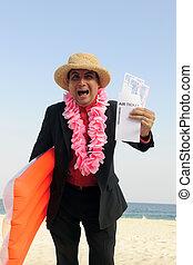 pronto, per, uno, holiday:, uomo affari, spiaggia