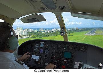pronto, piloto, aterragem, obtendo