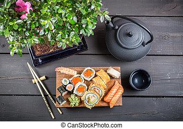 pronto, servito, sushi, mangiare