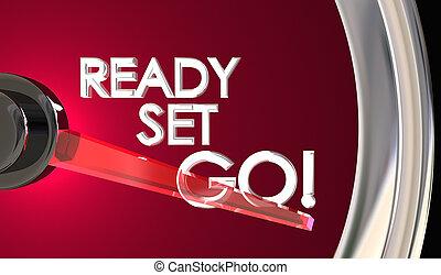pronto, set, andare, tachimetro, iniziare, corsa, concorrenza, 3d, illustrazione