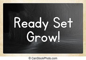 pronto, set, crescere, concetto