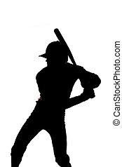 pronto, silhouette, oscillazione baseball