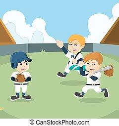 pronto, trem, equipe basebol