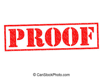 PROOF red Rubber Stamp over a white background.