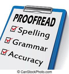 proofread clipboard with check boxes marked for spelling, ...