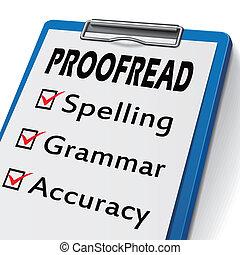 proofread, presse-papiers