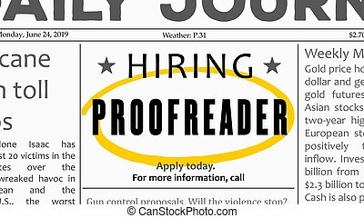 Proofreader  job offer. Newspaper classified ad career opportunity.