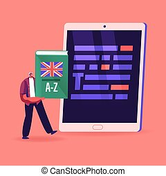Proofreading Concept. Tiny Male Character Holding English Language Dictionary Stand front of Huge Tablet Pc with Grammar Test and Errors Red Highlighting, Mistakes in Text. Cartoon Vector Illustration