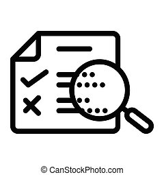 proofreading icon, outline black style, seo and business illustration