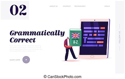 Proofreading Landing Page Template. Tiny Male Character Holding English Language Dictionary Stand front of Huge Tablet Pc with Underlined Grammar Test Mistakes in Text. Cartoon Vector Illustration