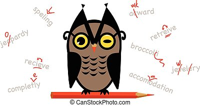 Proofreading - Owl with a red pencil, proofreading and...