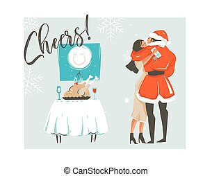 proosten, retro, kaart, vrijstaand, kerstmis, vector, het koesteren, spotprent, hand, kerstmis, tijd, kussende , romantische, illustraties, ouderwetse , getrokken, paar, abstract, tekst, vrolijk, achtergrond, diner, witte