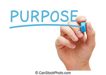 propósito, azul, marcador