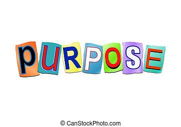 propósito, palavra, concept.