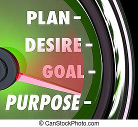 propósito, plano, desejo, meta, velocímetro, medida, medida,...